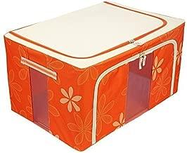 Fold-able Rectangular Shape Steel Frame Under Bed Closet Organizer (1 Pieces) (Capacity: 66 Liters, Dimension: 51 (L) X 41 (B) X 33 (H) cms. Colour: Floral Design Orange).