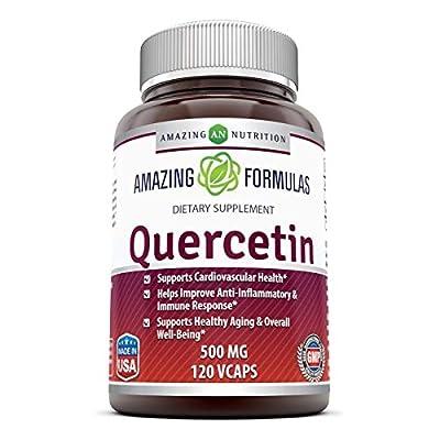 Amazing Formulas - Quercetin 500 Mg, 120 VCaps(Vegetarian Capsules) (Non-GMO,Gluten Free, Vegan) * Supports Cardiovascular Health, Helps Improve Anti-Inflammatory & Immune Response,
