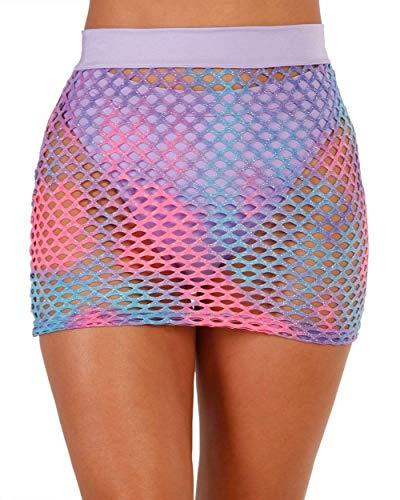 iHeartRaves Cotton Kandi Sparkle Fishnet Mini Skirt (Blue, Medium)