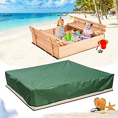 Sunshine smile Cubierta impermeable para caja de arena de 120 cm x 120 cm, para caja de arena de juguete, resistente al polvo, cubierta para caja de arena