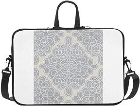 Candice Olson Hand Tufted White Cane Geometric Pat Pattern Briefcase Laptop Bag Messenger Shoulder Work Bag Crossbody Handbag for Business Travelling