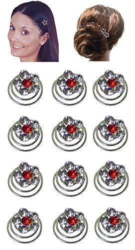 Douzaine Lot Clips à cheveux avec fleur de cristal Ornement 7/40,6 cm de diamètre Nf83075–1htflr-d