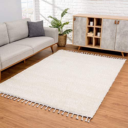 carpet city Teppich Wohnzimmer - Shaggy Hochflor Creme - 160x230 cm Einfarbig - Moderne Teppiche mit Fransen