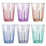 UNISHOP Set de 6 Vasos de Colores Pastel, Vasos de Cristal Multicolor Altos, Aptos para Lavavajillas (365ml)