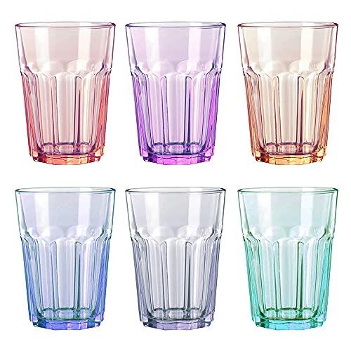 UNISHOP Set de 6 Vasos de Colores Pastel, Vasos de Cristal Multicolor Altos de 365ml, Aptos para Lavavajillas