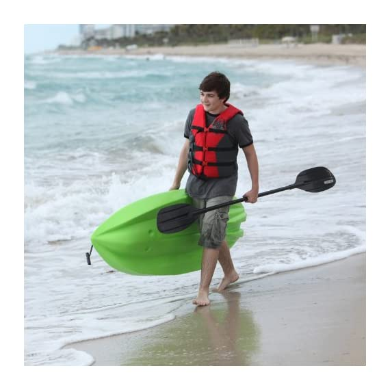 Lifetime Youth Wave Kayak with Paddle, 6 Feet, Green 5 Specifically designed for kids ages 5 and up; 130 LB weight capacity Lightweight 18 Lb. design with molded finger handles on each side for easy transport Sloped at the end with a swim-up step allowing rider to easily re-enter the kayak from the water