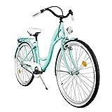 Milord. Komfort Fahrrad mit Rückenträger, Hollandrad, Damenfahrrad, 1-Gang, Aqua Blau, 26 Zoll
