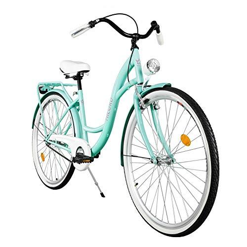 Milord. Komfort Fahrrad mit Rückenträger, Hollandrad, Damenfahrrad, 1-Gang, Aqua Blau, 28 Zoll