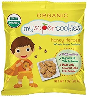 MySuperCookies, 100ct-1oz (Bulk Snacks, Organic, Nut Free, Kosher, Whole Grain) (Honey Heroes)