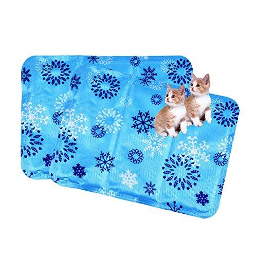 Hundegel Kühlmatte Sommerkühler Pad Wassertropfen Eismatte Haustier Matratze Kissen für kleine Welpen Hunde und Katzen (2Pcs)