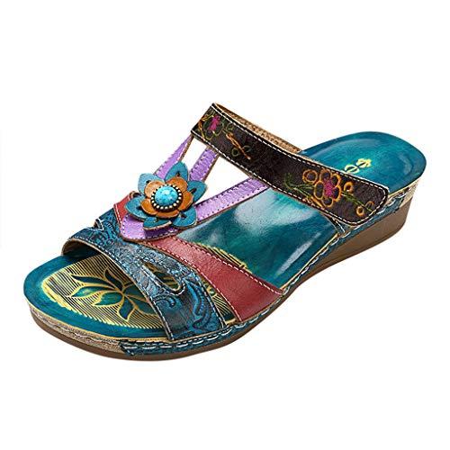 RTPR Verano ocio mujer étnica abierta con gran chanclas romanas sandalias de mujer sandalias planas antideslizantes para la playa, azul, 43 EU