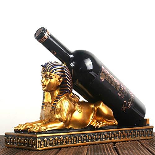Soporte para botellas de vino, diseño de faraón egipcio, de resina, para botellas de whisky, cerveza, decoración del hogar, accesorios de decoración (color: esfinge)