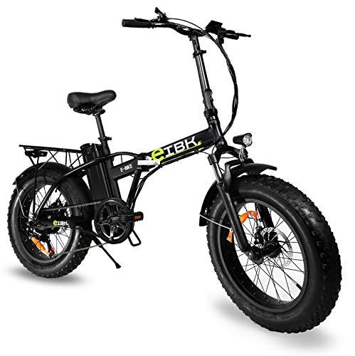 """e-IBK Bici Elettrica Pieghevole Fat Bike 20"""" Pollici Batteria 48V Volt Litio Telaio in Alluminio Cambio Shimano Motore 250w/500w, Freni a Disco, Forcella Ammortizzata (Nero)"""