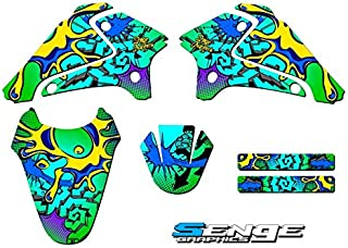 Senge Graphics kit compatible with Kawasaki 2003-2007 KLX 125, Zany Green, Base Graphics Kit