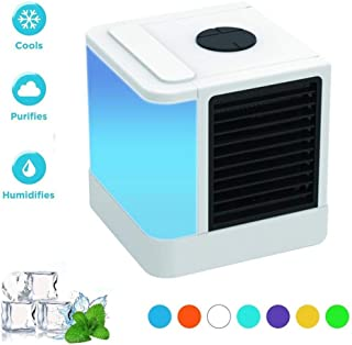 ELE Ventilador eléctrico Mini Aire Acondicionado Enfriadores de Aire Ventiladores USB Enfriador de Aire portátilConditiioner Mesa Mini Ventilador para OficinaHogar7 Luz de Color