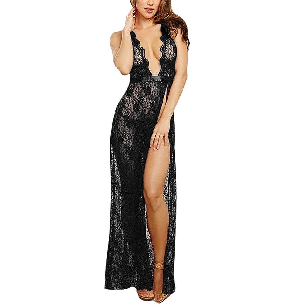 リングバック販売員電気的セクシーランジェリーストラップ美バックディープVレースロングナイトドレスかわいい 過激 透け キャミソール 情趣 女性 エロ下着 アンダーウェア ビキニ 全身 レース 軽量シースルー スリム 福袋