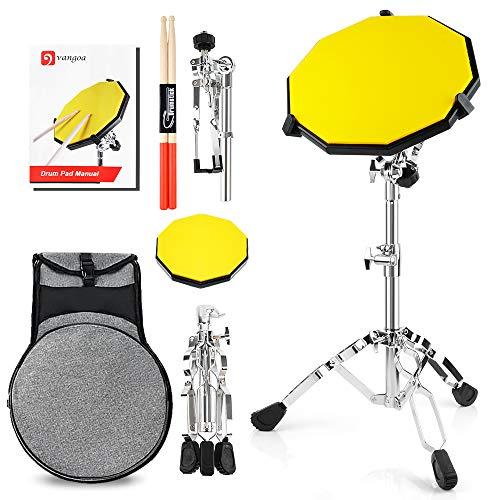 Vangoa 12 Zoll Silent Drum Pad Silikon-Übungspad für Anfänger mit Snare Stand, Drum Sticks und Tragetasche