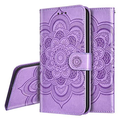 IMEIKONST Funda para Moto G9 Plus Embossed Libro de Cuero Billetera Premium Phone Case Flip Folio Card Slot Holder Magnetic Stand Funda para Motorola Moto G9 Plus Mandala Purple LD