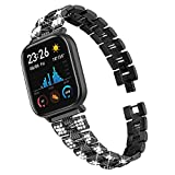 TenCloud Replacement Bands Adjustable Metal Watch Band Rhinestone Bracelet Wristband Compatible with Amazfit GTS 2e Smartwatch (Black)