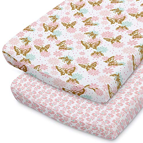 The Peanutshell Changing Pad Covers for Baby Girls | 2 Pack Set | Pink amp Gold Butterfly and Pink Disty Floral
