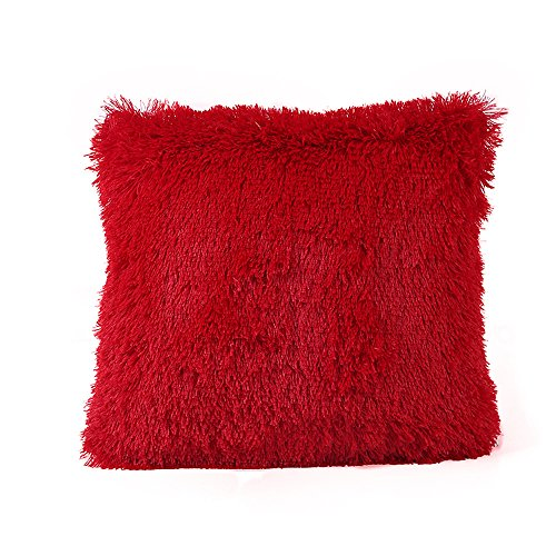 Watopi Flush Pillow Case Warm Fluffy Throw Cushion Cover, 43cm*43cm, 1 pc Home Decorative for Sofa/Couch/Bed/Car (43cm*43cm, Red)