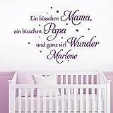 KLEBEHELD® Wandtattoo mit Wunschnamen | Ein bisschen Mama, ein bisschen Papa und ganz viel Wunder. | mit Sterne | Farbe hellbraun, Größe 80x53cm