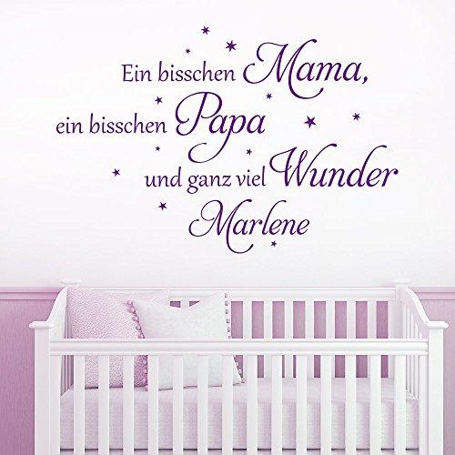 KLEBEHELD® Wandtattoo mit Wunschnamen | Ein bisschen Mama, ein bisschen Papa und ganz viel Wunder. | mit Sterne | Farbe lichtblau, Größe 80x53cm