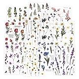 12 hojas Scrapbook Stickers Pegatinas de flores Etiqueta de la decoración Planificador de...