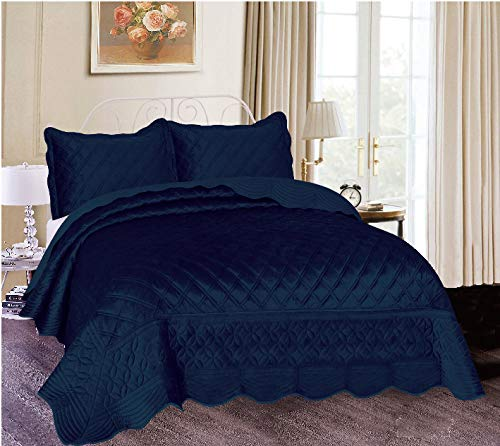 Sapphire Home King Bedding-Super Soft Plush Oversize King Bedding - Easy to Clean Bed Set-All-Season King/California King Comforter - Solid Embroidery Bedspread - King Quilt Set,(Michelle, K,Navy)