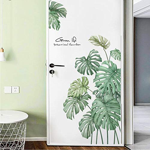 Adhesivo decorativo para pared, diseño de flores, planta, palmera, para oficina, cocina, vinilo, frigorífico