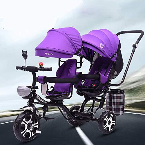DYB Triciclo para niños, Triciclo para bebés, Triciclo multifunción 4 en 1 para niños Gemelos, Asiento Giratorio Doble de Seguridad, toldo Desmontable, Pedal Plegable, Apto para niños de 1 a 6 años
