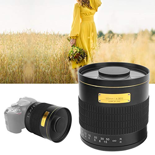 Gatuxe 500 mm Spiegelobjektiv, Momentobjektiv Makroobjektiv Kameraobjektiv mit Adapter für Kamera(Black)