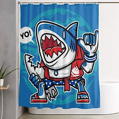 KGSPK Cortinas de Ducha,Tiburón Surfista de Dibujos Animados con carácter de Tabla de Surf Rota,Cortina de baño Decorativa para baño,bañera 180 x 180 cm