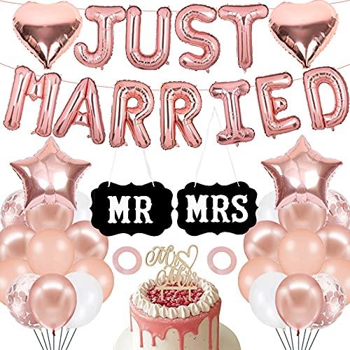 Deko Hochzeit, Just Married Deko, Luftballons Hochzeit mit Just Married Girlande und Schilder MR&MRS Cake Topper Hochzeit, Rosegold Ballons für Hochzeitsfeier, Wedding Verlobungs Fest Party Dekoration