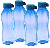 Tupperware Aquasafe Water Bottle Set, 1 Litre, Set of 4, Blue
