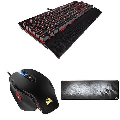 Corsair K70 Lux - Teclado gaming (USB, alámbrico, USB), negro - QWERTY español + Ratón óptico M65 PRO + Alfombrilla gaming MM 300 de tela antidesgaste de alto rendimiento