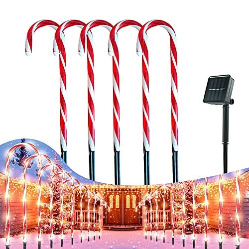Luces De Bastón De Caramelo De Navidad, Luces Solares De Camino,marcadores De Camino Luces De Bastón De Caramelo,luces De Navidad Exterior Solares,césped De Patio De Navidad Decoración Al Aire Libre