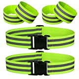 Morbeste 6 PCS Reflective Running Gear, High Visibility Glow Safety Reflective Belt or Sash, Lightweight Reflective Band Strap for Running, Walking, Cycling - Fits Women, Men, Kids (Green)