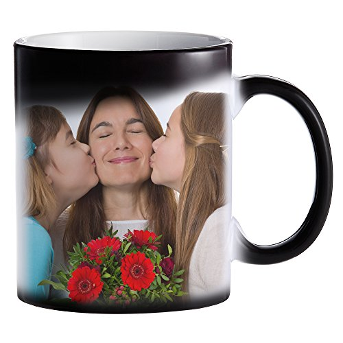 Zaubertasse mit Fotodruck – Schwarze Magic Foto Tasse mit Farbwechseleffekt – persönliche Geschenkidee selbst gestalten – Bedruckte Kaffeetasse – Kaffeebecher mit Thermoeffekt und eigenem Bild