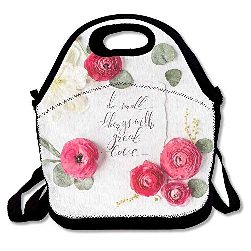 VTXWL Quote Do Small Things with Great Love Written In Calligraphic Style On Paper with Pink Red Roses Awesome Lunch Tote Lunch Bag Office...