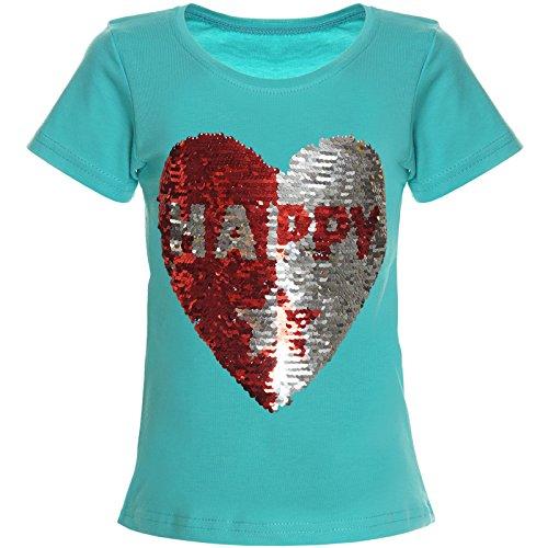 Kinder Mädchen T-Shirt Wende-Pailletten Bluse Shirt 21357 Grün Größe 140