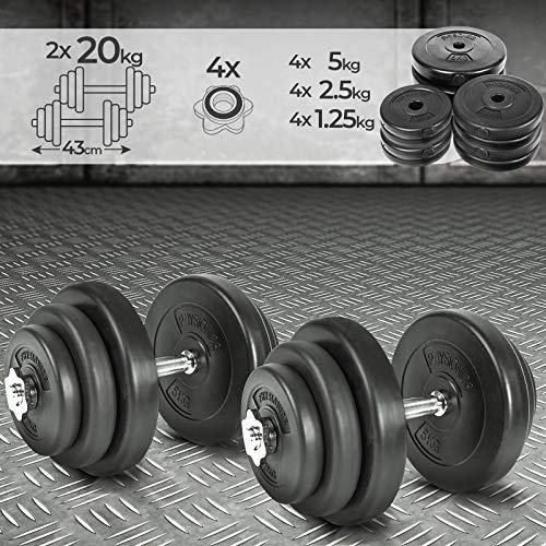 Physionics® Juego de 2 Mancuernas de Fitness de 40 kg (2 x 20 kg) Pesas Musculación Discos y Barras