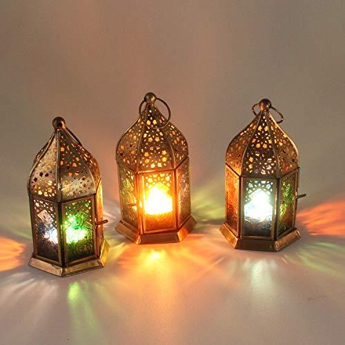 Casa Moro Orientalische Windlichter Nael Multi 3 Set aus Metall & mit bunten Reliefgläsern Höhe 16 cm | Marokkanische Glaslaternen im Antik-Messing-Look für drinnen & draußen | WDL1030