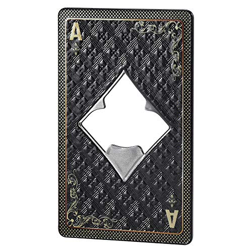 KADAX Abrebotellas, Diseño Carta de Póker, As, Abridor de Botellas de Metal, para Casa, Fiesta, Bar, Soda, Cerveza, Boda, Abridor, elegante regalo (rombo)