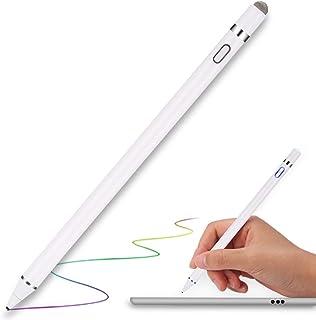 タッチペン MPIO スマートフォン タブレット スタイラスペン iPad iPhone Android対応 極細 高感度 USB充電式 銅製1.5mmペン先 軽量 タッチペン 細/太両側使る … (ホワイト-02)