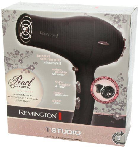 Remington AC2015 Pro Hair Dryer with Pearl Ceramic Technology, Black/Pink