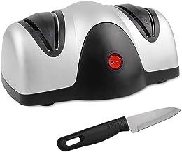 Domaier - Aiguiseur Electrique de Couteau, Affûteur à Deux Niveaux, Noir/Argent, Matériau: Plastique ABS