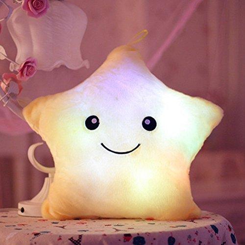 LED Estrella Almohadas Luminoso Suave Cojines Maravilloso Guardería Habitación Almohadas Felpa Juguetes Fiesta Decoraciones (Blanco)