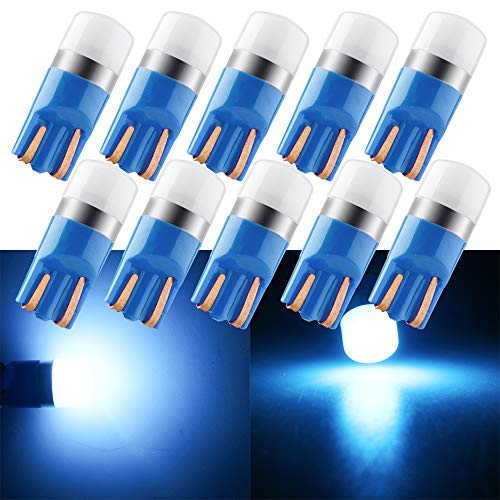 Qasim 10x LED Estándar T10 W5W Bombillas Azul Hielo 3030 1SMD Cuña 168 194 para Automóvil Luz de la Matrícula Interior Ancho Techo Luces Lateral DC12VAzul Hielo