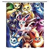 Duschvorhang Pokémon Duschvorhänge Anti-Schimmel, Wasserdicht, Textil-Vorhang Waschbar Badvorhang Polyester Stoff mit 12 Duschvorhangringen 71x71 inches
